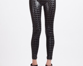 Mind Melting Black Holographic Vinyl Leather Look Super High Waisted Leggings