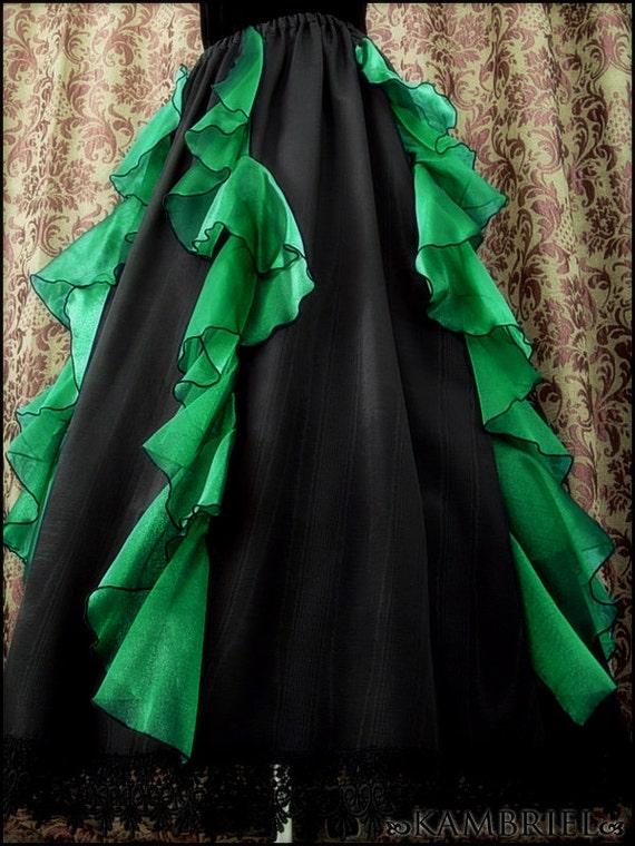 Black Absinthe Waterfall Skirt - Brand New by Kambriel