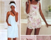 Lingerie Sewing pattern Slippers camisole shorts bag head and towel wrap pillow sewing pattern Butterick 3349 Sz 12 to 16