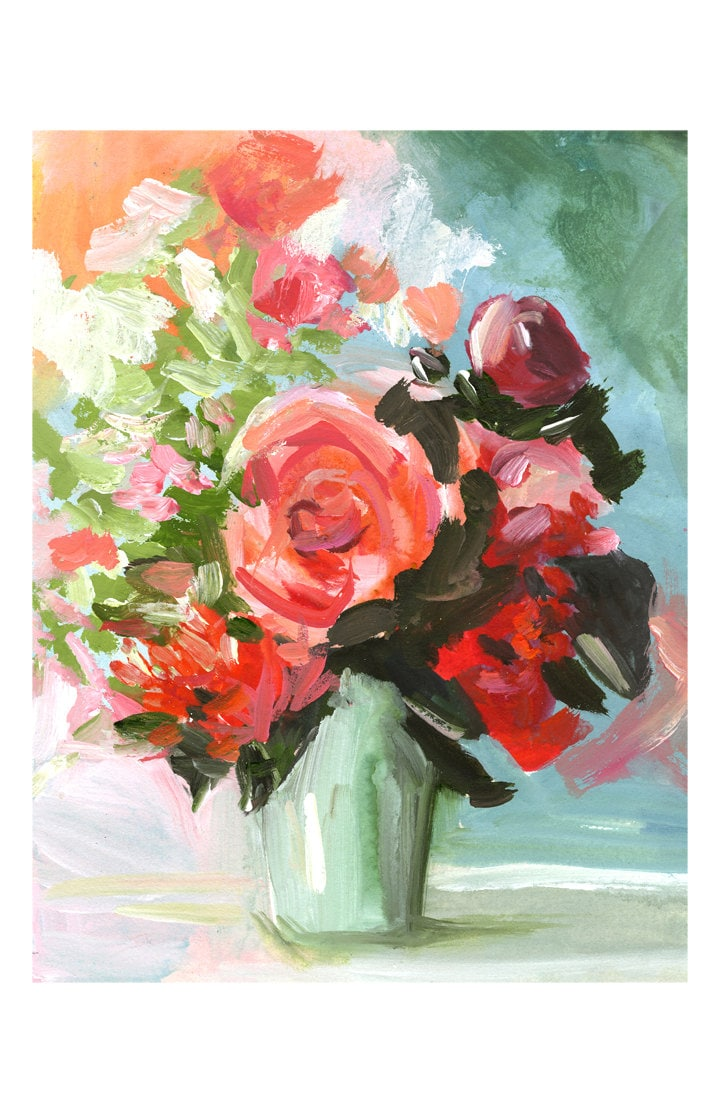 Large abstract floral peach aqua rose abstract painting for Abstract art flowers paintings