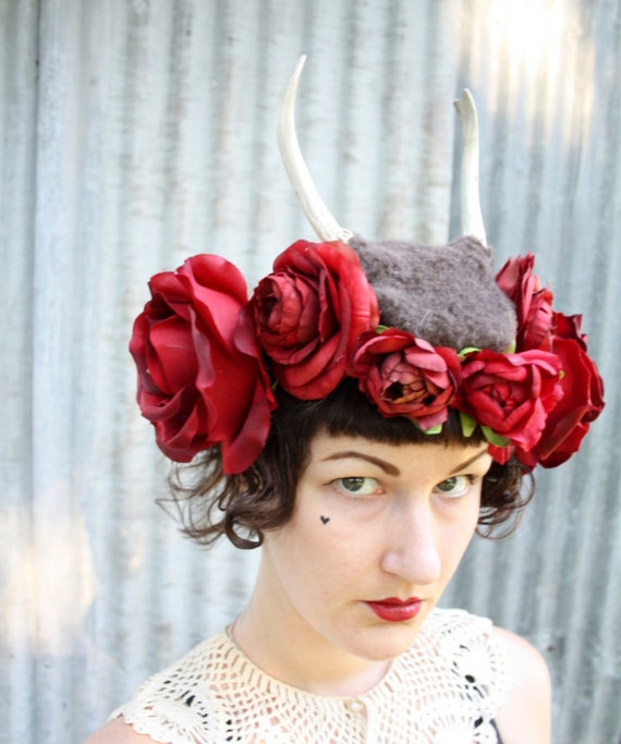 Deer Brown Antler Headband - Black Forest Faun Fawn Costume