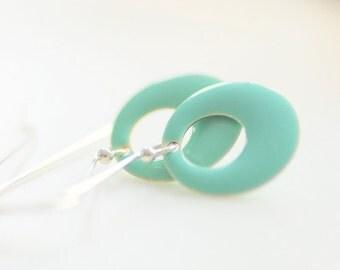 Geometric Earrings, Circle Earrings, Mint Green Earrings, Enameled Earrings, Seafoam Green, Whimsical, Sterling Silver, Summer Earrings