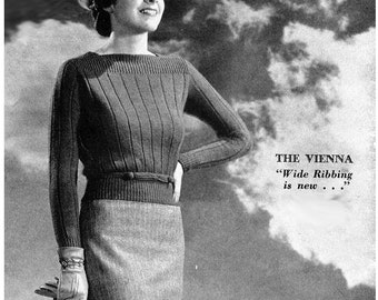 1930s Knitting Pattern- Vienna Long Sleeve Sweater Blouse- PDF Pattern Instant Download