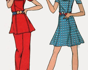 1970s  Mini Dress,Tunic and Pants Butterick 6572  Vintage 70s Young America Sewing Pattern Size 12 Bust 34