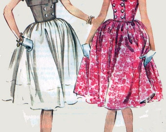 Vintage McCalls 5417 Sewing Pattern MadMen Dress Double Breasted Bodice w/ Full Skirt and Bolero Original Vintage 60s Sewing Pattern Size 16