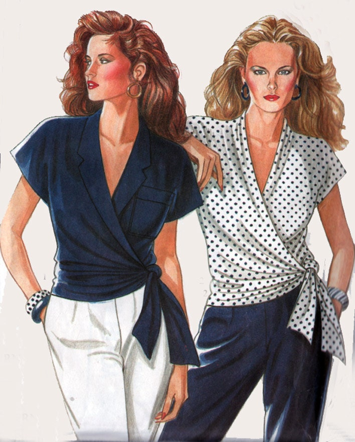 Vintage 80s Sewing Pattern New Look 6081 Wrap Blouse Size 8 12