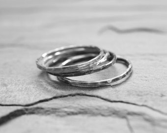 Set of Three Sterling Silver Stacking Rings. 18 Gauge Textured Rings