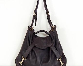 Lavonne - Handmade Brown Leather Hobo Shoulder Bag.