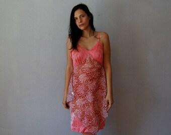 vintage recycled tie dye FLORAL slip dress