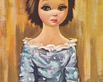 Vintage Eden Big Eyed Girl Print 5x7 Lithograph Color Litho