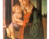 Madonna and Child - Sandro Boticelli - Italian Painter - Masterpiece Painting - 1966 Vintage Print Reproduction - 12 x 15
