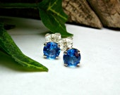 Genuine Ice Blue Topaz Gem Stud Earrings with Sterling Silver