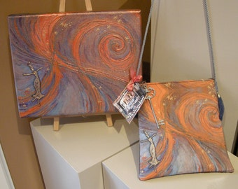 "Painting and Purse  titled ""Inner Cosmos"""