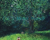 Woodchucks Eating Late-Summer Apples at Whittier Birthplace Signed Art Print by Mister Reusch