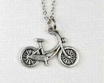 Small bike bicycle Charm Necklace antiqued silver plated pewter, initial necklace, initial hand stamped, personalized, monogram