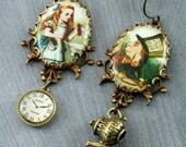 Alice In Wonderland Earrings Mad Hatter Earrings Alice Earrings Clock Earrings Teapot Earrings Brass Vintage Alice in Wonderland Image