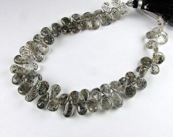Rutilated Quartz Smooth and Shiny Polished Pear Flat Teardrop Gemstone Briolette Beads 11mm - 12mm (6 gems)