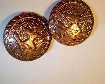 Ethnic Copper Earrings, Copper Clip On Earrings, Asian Dancer Earrings, Vintage Copper Clip On Earrings. Unique, One-of-a-Kind Earrings