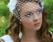 Birdcage Veil With Pearls - Bandeau Style - Detachable Veil - Birdcage fascinator - White Veil - Russian Netting - French Style - Mini Veil