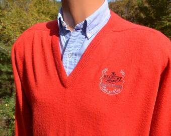 vintage 70s sweater REGISTRY resort golf naples pelican bay red luxury v-neck Medium Large izod 80s soft florida preppy