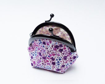 Pink and purple floral cotton coin purse