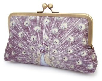 Clutch bag, silk purse, peacock feathers, bridesmaid gift, LAVENDER PEACOCK