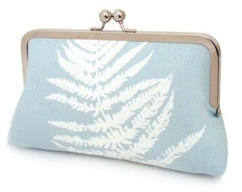 Clutch bag, fern purse, woodland wedding, blue and white, FERN SILHOUETTE