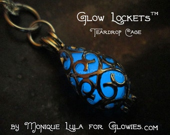 Glow Lockets Mermaid Tear Teardrop Cage Silver Filigree Pendant