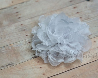 White Flower Hair Clip  - Shabby Chiffon and Lace Flower - With or Without Rhinestone Center