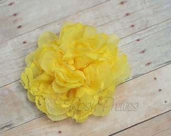 Yellow Flower Hair Clip  - Shabby Chiffon and Lace Flower - With or Without Rhinestone Center