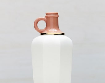 Peach and White Matte Porcelain Vessel with 14k Gold Luster // Cast from an Antique Jug // Unique Modern Home Decor