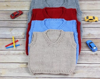 KNITTING PATTERN For Child Pullover Tank Top in 4 Sizes PDF 262 Digital Download