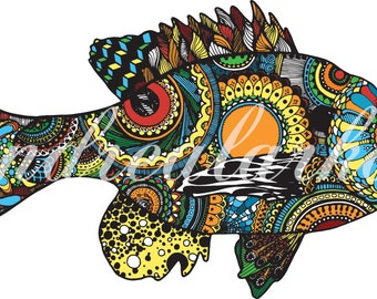 Bluegill Zentangle 3M Laminated Decal