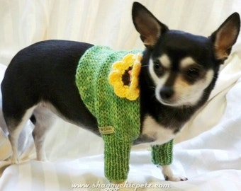 Dog knitted shrug, Spring Green, Yellow Sunflower,  hand-knitted wool  St. Patrick's Day, small