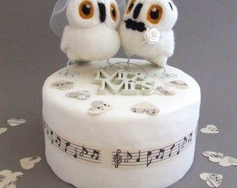 Owl Wedding Cake Toppers Bride and Groom Snowy Owl Pair in Natural White Felt Birds