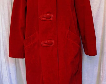 SALE WAS 65.00 Vintage 1960's Red Velveteen Car Coat with Leatherette Trim
