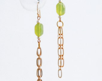 Korean Jade and Gold Chain Earrings