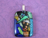 Colorful Dichroic Pendant, Handmade Fused Glass Pendant, Blue, Green, Ready to Ship Fused Glass Jewelry - Treasures from the Orient - 3343-2