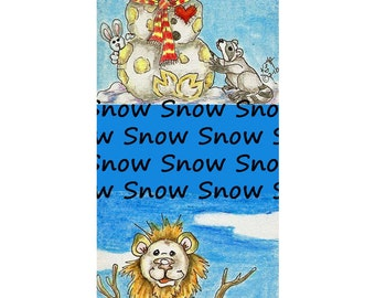 snowman Giraffe Lion bunny raccoon Bookmark PRINT Kim Loberg Fantasy animal EBSQ