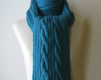 Cable Knit Scarf, Cerulean Blue Wool, Hand Knitted Scarf, Long Scarf, Wrap Scarf, Cute Scarf, Winter Accessories, Wool Scarf, Mens Scarf