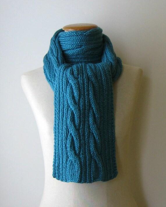 SALE - Aran Scarf Knitted in Cerulean Blue Wool