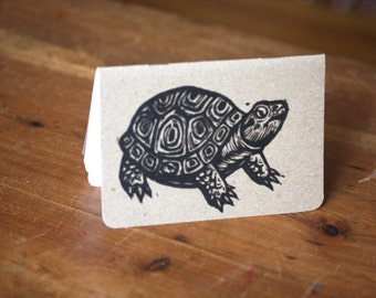 Journal, Small Turtle Travel Journal, Turtle Linocut Pocket Notebook, Moleskine Journal