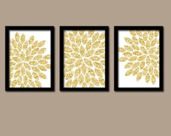 GLITTER Gold Wall Art, CANVAS or Prints Faux Glitter Decor,  Bedroom Pictures, Bathroom Artwork, Flower Burst Dahlia Petals Set of 3