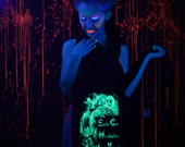 Alice in Wonderland Cheshire Cat We're All Mad Here Glow in the Dark screenprint jersey scarf