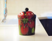 """Flour Canister Ceramic Canister Canister with Lid Jar Cookie Jar Kitchen Canister Extra Large 10.5"""" Height Kitichen Storage Gift for Baker"""