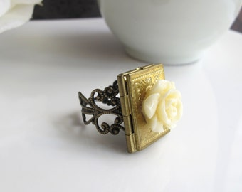Book Locket Ring. Victorian Style Lace Filigree Ring. Ivory White Ruffled Rose. Antiqued Bronze. Kawaii Cute Simple Gift. Everyday Jewelry