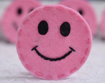 Set of 6pcs handmade felt happy face--baby pink (FT989)