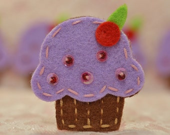 Set of 6pcs handmade felt cupcake--hyacinth (FT009)