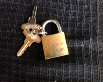 Vintage American Tourister Gold Luggage Lock with Two Keys