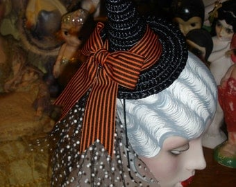 Small Mini Straw Witch Hat Stripes and Dots